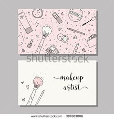 Makeup artist business card. Vector template with makeup items pattern - brush, powder, blush, puff, eyeshadow, lipstick, nail polish, mascara and mirror