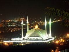 Faisal Mosque at Night Beautiful Mosques, Beautiful Places, Islamic Architecture, Marina Bay Sands, Pakistan, Explore, Night, Photos, Travel