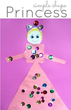 Easy Shape Princess Craft : Cute way to work on shape recognition with a princess-obsessed little one. Easy shape princess craft for kids . Learn about shapes while making a pretty princess craft. Princess Activities, Princess Crafts, Princess Theme, Aladdin Princess, Princess Aurora, Princess Bubblegum, Craft Activities For Kids, Preschool Crafts, Crafts For Kids