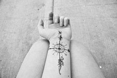 beautiful compass tattoo AND I LIKE THE FEATHER AT THE BOTTOM