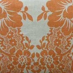Rena 9552 F07049-1C Orange/Linen 100% Linen Floral Fabric