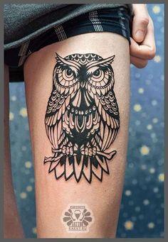 Owl Tattoo on Thigh - Tattoo Shortlist
