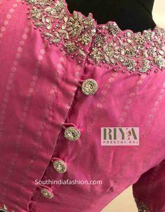 Wedding Saree Blouse Designs, Pattu Saree Blouse Designs, Designer Blouse Patterns, Fancy Blouse Designs, Blouse Neck Designs, Zardosi Work Blouse, Indian Blouse Designs, Lehenga Designs, Dress Patterns