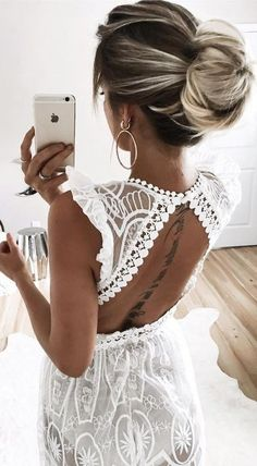 #summer #young #outfits | White Lace Maxi Dress