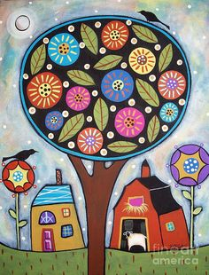 Round Tree Painting  - Round Tree Fine Art Print