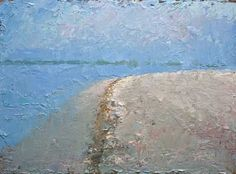 Neil Pinkett   Distant Island and Soft White Sand   oil on canvas board