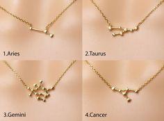 Zodiac Necklace,Constellation necklace,Zodiac jewelry,Gift idea, Valentines gift,zodiac jewelry by DearMia on Etsy https://www.etsy.com/ca/listing/264953364/zodiac-necklaceconstellation