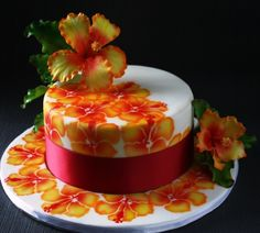 My fist time with Airbrush, i saw the cake in the Cake craft & decoration magazine.