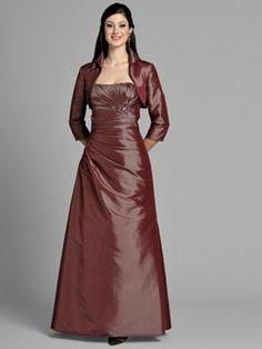 (HUNG0242413 )A-line Strapless Ruffles Long Sleeves Floor-length Taffeta Prom Dress / Evening Dress [200011131] - $119.99 : justlovedress.com