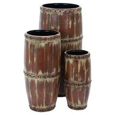 Barrel Shaped Metal Vase with Enchanting Style- Set of This set of three vases will be the source of rustic looks that can enhance your home in a way that can enchant you. A high quality of metal is put into use that displays exceptional strength and Metal Vase, Metal Homes, Joss And Main, Home Decor Accessories, Seasonal Decor, Furniture Decor, Barrel, Wall Decor, Shapes