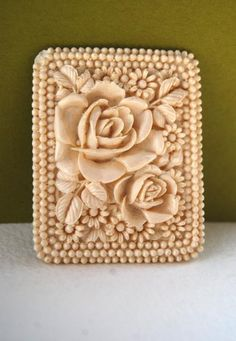 Vintage Unique Large Intricately Carved Ivory Floral Rectangular Celluloid…