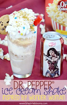 Enjoy this yummy Dr Pepper® ice cream shake inspired by Wonder Woman to get ready for the new film in theaters June 2nd! Pair with Orville Redenbacher's popcorn for the perfect treat to get ready for the film. All ingredients purchased from @krogerco. #WonderWoman #WonderfulMovieNight #ad