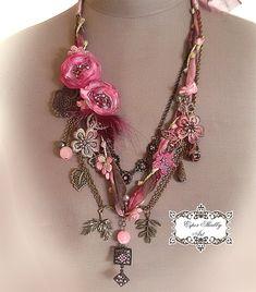 потертый шик мягкий плетеный ожерелье из старинных кружев планки, шелк 100%, бисер кристалл.