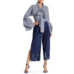 TOV Calf Length Denim Capri ($45) ❤ liked on Polyvore featuring pants, capris, navy, navy capri pants, pleated pants, wide leg capris, blue pants and denim capri pants