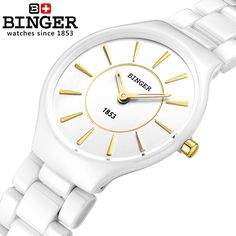 51.66$  Buy here - http://aipsr.worlditems.win/all/product.php?id=32390142517 - Switzerland Binger ceramic quartz watch women fashion lovers style luxury brand Wristwatches Water Resistant B8006-3