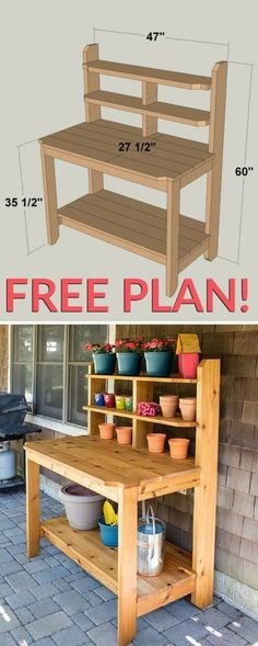 How To Build A Potting Bench (FREE-plan)