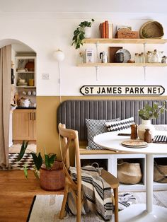 dining nook ideas Small Dining, Small Tables, Side Tables, Grey Headboard, Kitchen Nook, Corner Dining Nook, Kitchen Ideas, Kitchen Seating, Kitchen Stuff