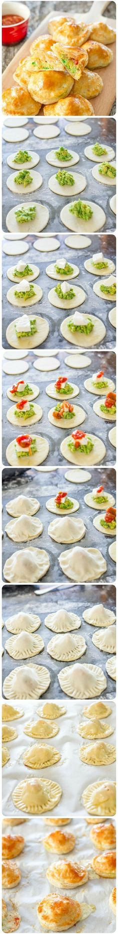 Avocado Mozza Puffs - little puff pastry morsels filled with mashed avocado, fresh mozzarella cheese and salsa.