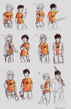 cinash:Practicing aging characters with Percy and Annabeth