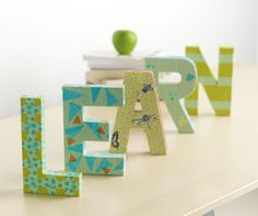 Decorate the class room or your desk at home using letters wrapped in Scotch Expressions washi tape