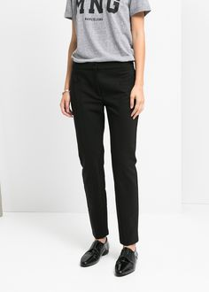 Seam-detail slim-fit trousers