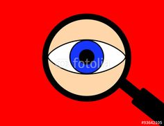 Vector: Illustration of an eye seen through a magnifying glass on a red background