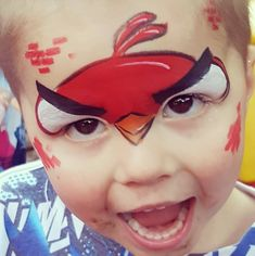maquillage d'animaux - oiseau rouge - angry birds