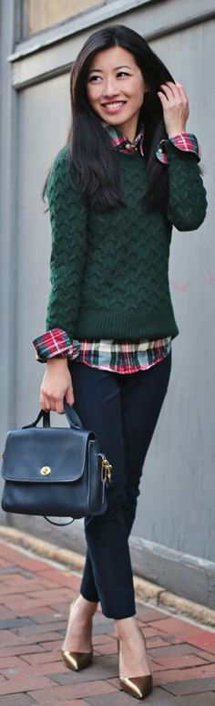 I love the look of this sweater over the plaid shirt. Good Holiday/Fall colors.