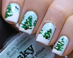 Winter Wonderland Nail Art. Tutorial at website.