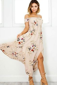 Delilah Waves Maxi Dress - Dusty Rose. Look like one in a million in this dreamy dress! Dusty Rose maxi dress with floral design bodice. This dress features a front slit on skirt with partial lining at the top of the slit.  Top off shoulder has stretch for a nice fit.      TheChicFind.com
