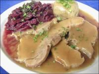 German Pork Roast - Schweinebraten - I could eat that entire plate and still be begging for more!  BEST German dish EVER!!!