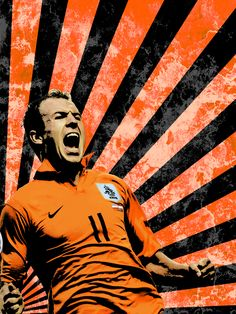 He had hair? Best Football Players, Football Soccer, Soccer Poster, Football Pictures, Fifa World Cup, Fc Barcelona, Messi, Orange Color, Netherlands