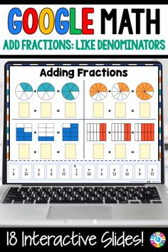 """""""LOVE THE VARIETY OF SLIDES!"""" With this Grade Adding Fractions with Like Denominators digital resource for Slides, your students will practice adding fractions with like denominators and converting sums greater than 1 to mixed numbers. Adding Fractions, Teaching Fractions, Math Fractions, Teaching Math, Math Classroom, Google Classroom, Google Math, Einstein, Math School"""