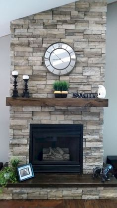 What a sweet floating mantel! Does your fireplace need a remodel? Check out the options we have for you on our website! What a sweet floating mantel! Does your fireplace need a remodel? Check out the options we have for you on our website! Fireplace Redo, Farmhouse Fireplace, Fireplace Remodel, Living Room With Fireplace, Fireplace Design, Fireplace Ideas, Rustic Fireplace Mantels, Stone Fireplace Decor, Mantel Ideas