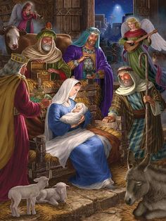 Holy Night is a 400 piece jigsaw puzzle by Cobble Hill featuring the Nativity Scene of Jesus Christ and measures at 24 Nativity House, Christmas Nativity Scene, Christmas Scenes, Christmas Pictures, Winter Christmas, Christmas Decor, Illustration Noel, Jesus Pictures, Holy Family