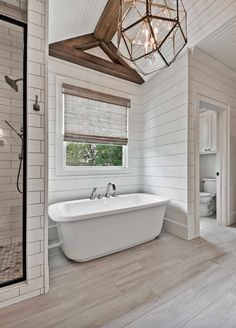 Beautiful master bathroom decor a few ideas. Modern Farmhouse, Rustic Modern, Classic, light and airy master bathroom design ideas. Bathroom makeover some ideas and master bathroom renovation suggestions. Craftsman Style Home, Country Bathroom Designs, House Bathroom, Dream Bathrooms, Bathroom Remodel Master, French Country Bathroom, Modern Bathroom, Bathroom Renovations, Amazing Bathrooms