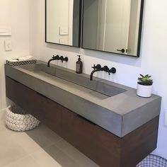 This custom trough sink made its way to New Jersey not too long ago. We were just sent some finished photos of the bathroom. Trough Sink Bathroom, Concrete Bathroom, Modern Master Bathroom, Double Sink Bathroom, White Bathrooms, Luxury Bathrooms, Master Bathrooms, Minimalist Bathroom, Dream Bathrooms