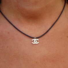 CC  necklace Leather charm necklace CC zirconia by CharmByIA