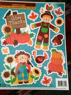 """FALL"" -1 Reusable Window Clings (11) Fall, Pumpkin, Scarecrows,"