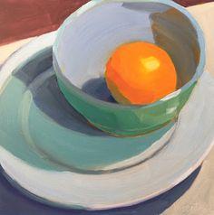 Robin Rosenthal Art: Blue/Green Bowl on White Plate