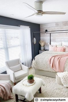 """The soft, inviting textures of this bedroom blend well with the natural tone of the wooden blades in this Hinkley hugger ceiling fan design. """"If I were to ever describe a light fixture as handsome, now is it. Hinkley is his name, and he's the perfect blend of masculine and feminine design. We love the soft, earthy tone of the blades. Everything is marrying so well together"""" Thank you to @simplycozycharm for sharing! Buy Chandelier, Hugger Ceiling Fan, Fan Lamp, Swag Light, Home Lighting, Small Spaces, Family Room, Light Fixture, Earthy"""