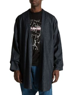 haori kimono jacket in denim - PROSPECTIVE FLOW  - 1