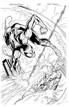 Mark Bagley and Mark Morales Avengers vs. X-Men Variant Cover Original Art (Marvel, Round 4 of the - Available at 2012 November Vintage. Spectacular Spider Man, Amazing Spider, Comic Book Heroes, Comic Books, Mark Bagley, Ultimate Marvel, Design Comics, Nerd Art, Spiderman Art