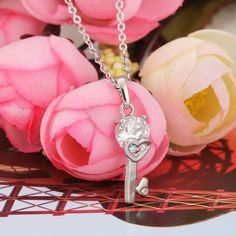 Ladies 18K White Gold Filled Zircon Pendant Necklace Key Pendant , unit price of $20.67 only - Yesfor.com