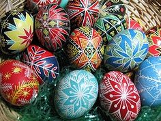 Great tradition make Ukrainian Pysanky eggs every year this is a link to 20 min video that describes how to make these. They are a lot easier then you think & my kids as young as 5 have made simple ones. You can buy a kit for 10.99 from Amazon to get you started. http://www.amazon.com/Lubas-Ukrainian-Easter-Egg-Decorating/dp/B004KMVS3W/ref=sr_1_1?s=toys-and-games=UTF8=1332162759=1-1  some patterns for free http://www.learnpysanky.com/  another http://sapfira.hubpages.com/hub/easter_eg