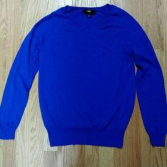 Blue knit sweater Blue knit sweater nylon/rayon Mossimo Sweaters Crew & Scoop Necks
