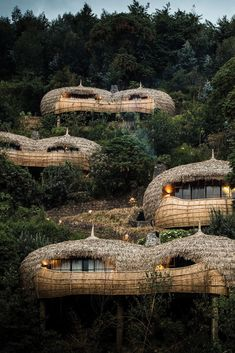 Set within an extinct Volcano you will find Bisate Lodge, neighbouring Volcanoes National Park. Stay here on your next gorilla trekking safari to Rwanda. Bamboo Architecture, Organic Architecture, Futuristic Architecture, Vernacular Architecture, Residential Architecture, Contemporary Architecture, Unique Honeymoon Destinations, Africa Destinations, Earthship