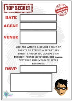 Secret Agent Party Invite Wonder Kids
