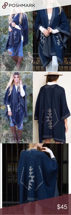 """🆕The SHINTA knit poncho - NAVY This knit poncho gives a tribal feel.   Dimensions 55"""" x 41"""" fabric 100% acrylic. Slouchy, oversized    🚨NO TRADE, PRICE FIRM🚨 Bellanblue Sweaters"""
