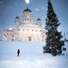 Snowing in Helsinki. The Helsinki Cathedral, Finland. Although it wasn't snowing when I went. Winterguard, Places To Travel, Places To See, Places Around The World, Around The Worlds, Wonderful Places, Beautiful Places, Saint Marin, Bósnia E Herzegovina